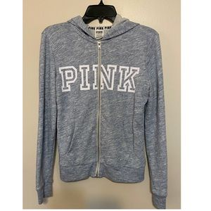 Pink Victoria's Secret light blue hoodie, …